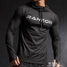 長袖健身服男寬鬆速干衣運動跑步t恤籃球訓練服連帽健身連帽T恤外套 完美情人精品館