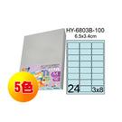 彩之舞 進口3合1彩色標籤-24格圓角(5色) 100張/ 包 HY-6803-100