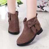女童靴子秋冬兒童短靴反毛皮加絨英倫風馬丁靴小女孩棉鞋  【快速出貨】