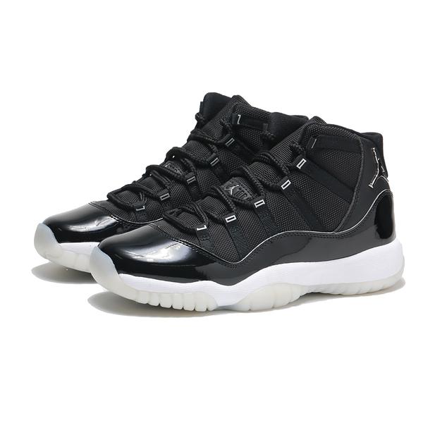 NIKE 籃球鞋 AJ11 JUBILEE 大魔王 AIR JORDAN 11 GS 25周年 黑銀 高筒 大童 女 (布魯克林) 378038-011