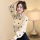 大碼女裝 長袖襯衫 設計感小眾上衣蕾絲衫波點釘珠雪紡打底衫FF1FA027衣時尚