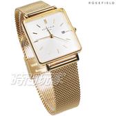 ROSEFIELD 歐風美學 時尚簡約 方形 不鏽鋼 米蘭帶 女錶 防水手錶 金x白 QWSG-Q03