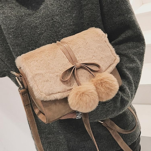 小包包女潮毛絨單肩包韓版百搭斜挎包時尚小方包 熊熊物語