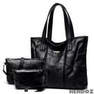 多件組-HENDOZ.羊皮MIX皮革方型肩背超值組(黑色)0316
