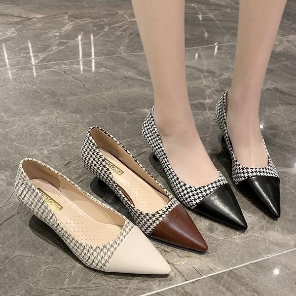 尖頭鞋.氣質優雅千鳥紋拼接皮革低跟包鞋.白鳥麗子