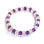 透亮粉晶切面輪珠與紫晶圓珠彈性手環