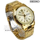 SEIKO精工 5號21石盾牌羅馬機械男錶 自動上鍊機械錶 日期/星期窗 金 SNKP20J1 7S26-04T0K