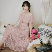 OL洋裝連身裙正韓版夏款法式復古一字肩珍珠扣氣質鏤空鉤花蕾絲連身裙氣質仙女裙DB105快時尚
