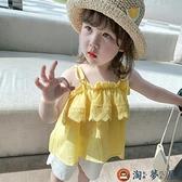 女童小可愛韓版吊帶兒童夏裝洋氣荷葉邊背心寶寶無袖上衣【淘夢屋】