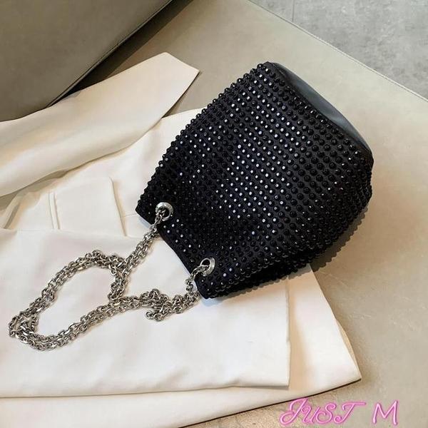 鍊條包高級感鑲鉆小包包女2020新款潮網紅鍊條百搭斜背包時尚水桶包 JUST M