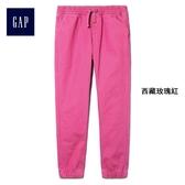 Gap女童 束腳系帶兒童休閒褲 中大童長褲洋氣褲子 401529-西藏玫瑰紅