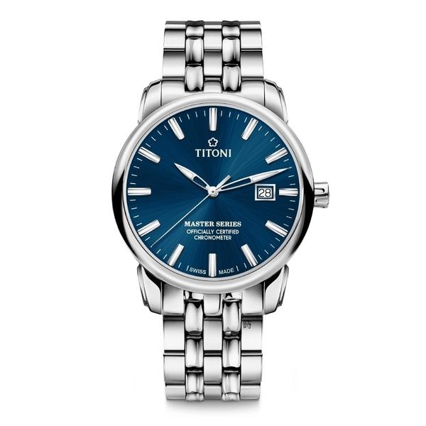 TITONI 梅花 大師系列 天文台認證機械錶 83188S-661 藍