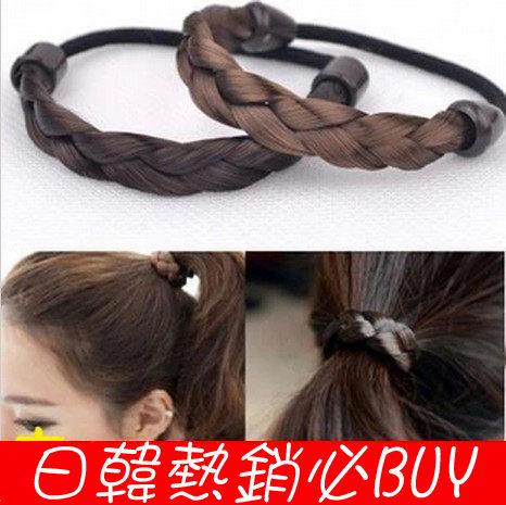 ►韓式假髮髮圈 麻花辮子髮繩 皮筋 頭繩 髮飾(髮辮款) 【B5009】