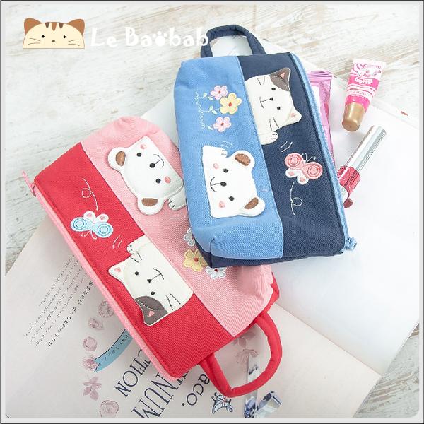 筆袋~雅瑪小舖日系貓咪包 啵啵貓郊遊趣筆袋/化妝包/萬用包/拼布包包
