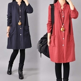 民族風大碼襯衫裙女裝秋裝新款韓版寬鬆長袖棉麻連衣裙中長款裙子 新年特惠
