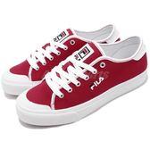 FILA 休閒鞋 紅 白 基本款 帆布鞋面材質 刺繡小LOGO 復古 女鞋 運動鞋【PUMP306】 5C910S221
