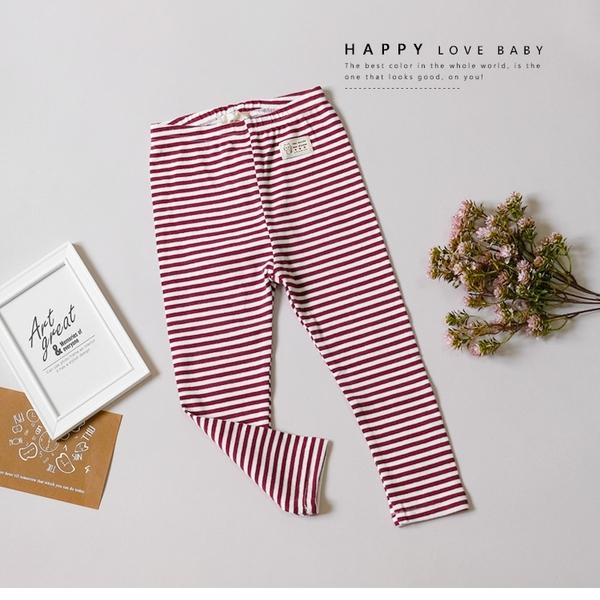 紅白細條紋可愛小貓織標內搭褲 長褲 休閒 鬆緊褲頭 舒適 女童裝 女童長褲 童裝 秋冬褲