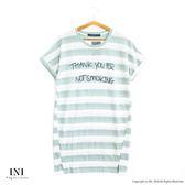 【INI】清新自在、舒適條紋修飾長版上衣.綠色