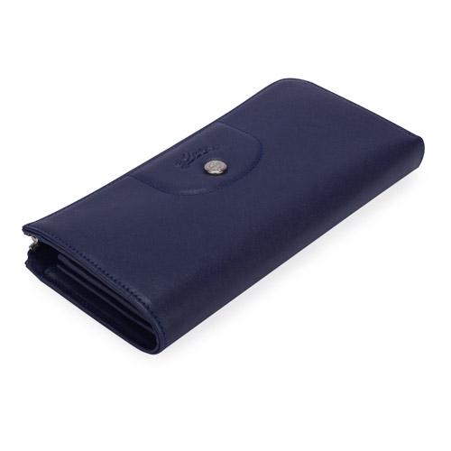 LONGCHAMP Le Pliage Cuir賽馬logo小羊皮拉鍊長夾(海軍藍)480800-556