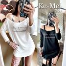 克妹Ke-Mei【AT65335】SUNNY歐美草寫字母不規則性感斜肩造型T恤洋裝