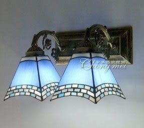 設計師美術精品館家居燈飾地中海鏡前燈 簡約蒂凡尼壁燈 彩色玻璃壁燈 2聯藝術壁燈