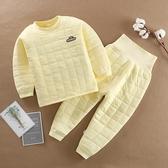 嬰兒保暖衣 嬰兒保暖套裝兒童內衣冬季加厚 寶寶夾棉衣服秋裝男女童睡衣冬裝