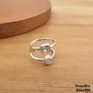 §海洋盒子§單隻一個。質感方圓鋯石雙線條造型925純銀耳骨夾.夾式耳環 (外鍍專櫃級正白k)