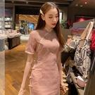 改良版旗袍夏季台灣風粉色年輕款少女小清新復古氣質優雅連衣裙女 快速出貨