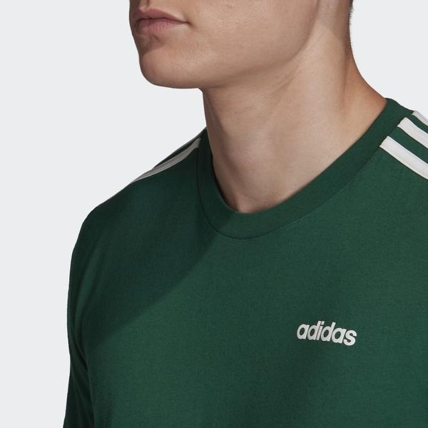 Adidas Essentials 3-Stripes男款深綠色休閒運動短袖上衣-NO.FM6230