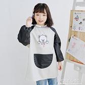 兒童罩衣畫畫衣長袖寶寶防水圍裙定制LOGO幼兒園美術圍裙繪畫罩衣 夏季新品