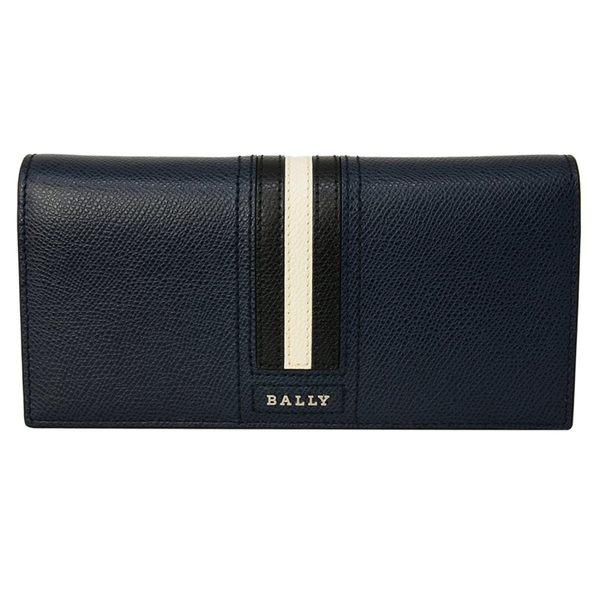 BALLY 防刮皮革拼接男對折長夾(12卡-深藍)