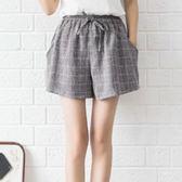 棉麻 顯瘦學院風格子短褲 獨具衣格