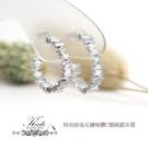 銀飾 C圈滿鑽純銀耳環 梯形閃鑽 排列反鑲 時尚有型 簡潔俐落 925純銀寶石耳環 KATE銀飾