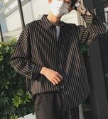 港風夏季薄款男士長袖襯衣文藝小清新條紋寬鬆襯衫韓版襯衫 艾尚旗艦店