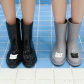 中大尺碼雨靴 貓咪時尚雨鞋女成人中筒雨靴秋季可愛水鞋果凍膠鞋防滑 DR2684【KIKIKOKO】