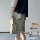 夏季工裝休閒短褲男潮寬鬆超火CEC五分褲子男韓版潮闊腿直筒中褲YQ41【東京衣社】
