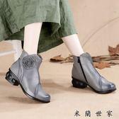 春天短筒單靴中年女鞋40歲真皮