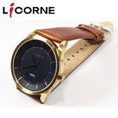 【萬年鐘錶】 LICORNE 力抗  深藍錶面 斜內造型錶面 棕皮錶帶 LT129MKND