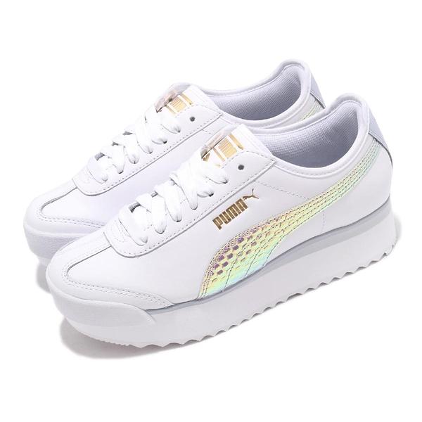 Puma 休閒鞋 Roma Amor Metallic Wns 白 亮彩 女鞋 厚底 增高 【PUMP306】 37100601