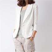 夏休閒氣質亞麻小西裝女短款韓國七分袖棉麻白色麻料西服外套 koko時裝店