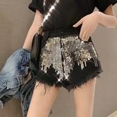 出清188 韓國風刺繡亮片毛邊牛仔熱褲單品短褲