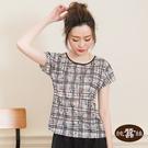 【岱妮蠶絲】簡約的手繪線條圓領蠶絲短袖T恤