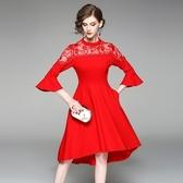 洋裝-中袖立領刺繡網紗純色女連身裙3色73of110【巴黎精品】