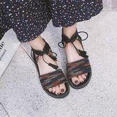 羅馬鞋 涼鞋女平底女生學生原宿簡約韓版百搭厚底羅馬 綠光森林