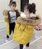 兒童羽絨外套 中長款兒童加厚大毛領羽絨服