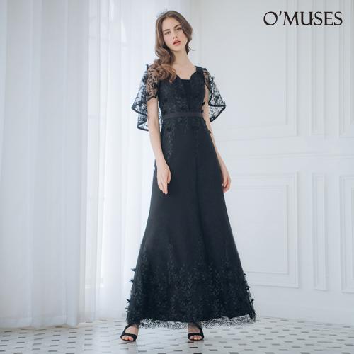 OMUSES 蕾絲刺繡魚尾訂製黑色長禮服