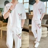 刺繡t恤男短袖 中國風男裝 棉麻半袖時尚亞麻套裝2020夏季新款 初秋新品