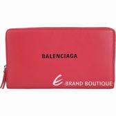 BALENCIAGA Everyday 品牌字母小牛皮拉鍊長夾(紅色) 1920637-54
