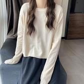 毛衣上衣針織衫糖果色圓領套頭長袖針織上衣女短款寬鬆顯瘦內搭打底衫T432B-9090.胖胖唯依