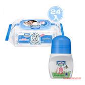【奇買親子購物網】貝恩Baan NEW嬰兒保養柔濕巾80抽/箱贈貝恩嬰兒防蚊滾珠凝露50ML